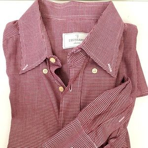 TRUSSARDI Red White Gingham Button D Shirt 43/17